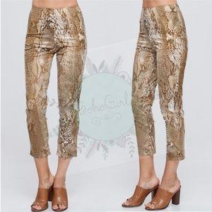 Pants - SNAKE PRINT CROPPED PANTS